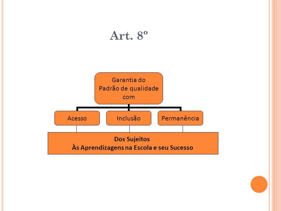 Art. 8º Garantia do Padrão de qualidade com AcessoInclusãoPermanência Dos Sujeitos Às Aprendizagens na Escola e seu Sucesso