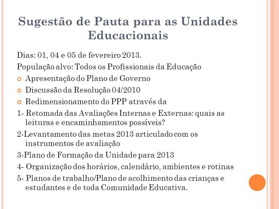 Sugestão de Pauta para as Unidades Educacionais Dias: 01, 04 e 05 de fevereiro 2013. População alvo: Todos os Profissionais da Educação Apresentação d