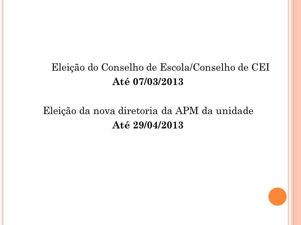 Eleição do Conselho de Escola/Conselho de CEI Até 07/03/2013 Eleição da nova diretoria da APM da unidade Até 29/04/2013
