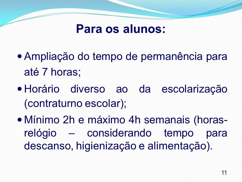 Para os alunos: Ampliação do tempo de permanência para até 7 horas; Horário diverso ao da escolarização (contraturno escolar); Mínimo 2h e máximo 4h s