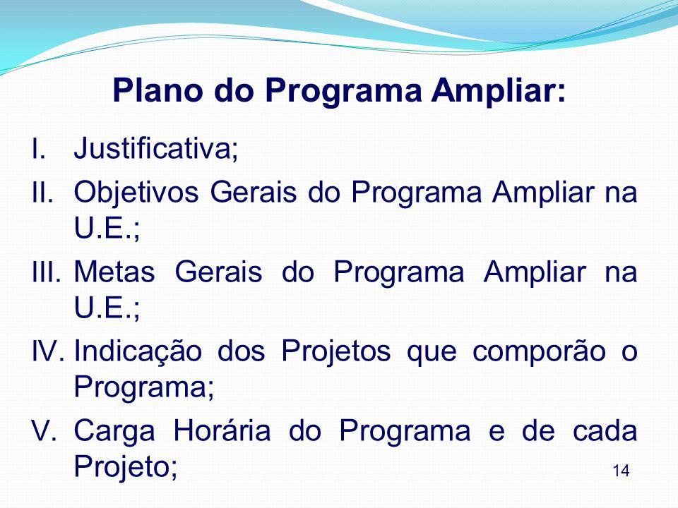 Plano do Programa Ampliar: I. Justificativa; II. Objetivos Gerais do Programa Ampliar na U.E.; III. Metas Gerais do Programa Ampliar na U.E.; IV. Indi