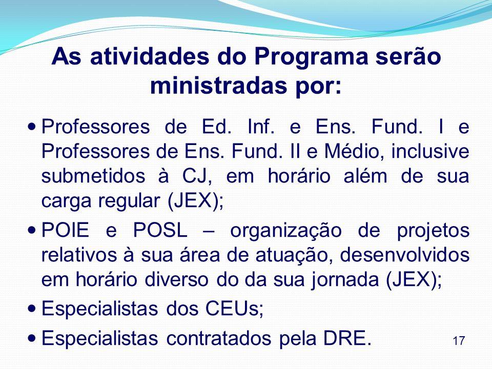 As atividades do Programa serão ministradas por: Professores de Ed. Inf. e Ens. Fund. I e Professores de Ens. Fund. II e Médio, inclusive submetidos à