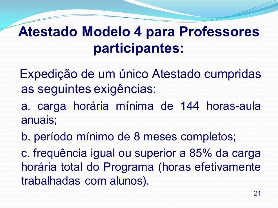 Atestado Modelo 4 para Professores participantes: Expedição de um único Atestado cumpridas as seguintes exigências: a. carga horária mínima de 144 hor