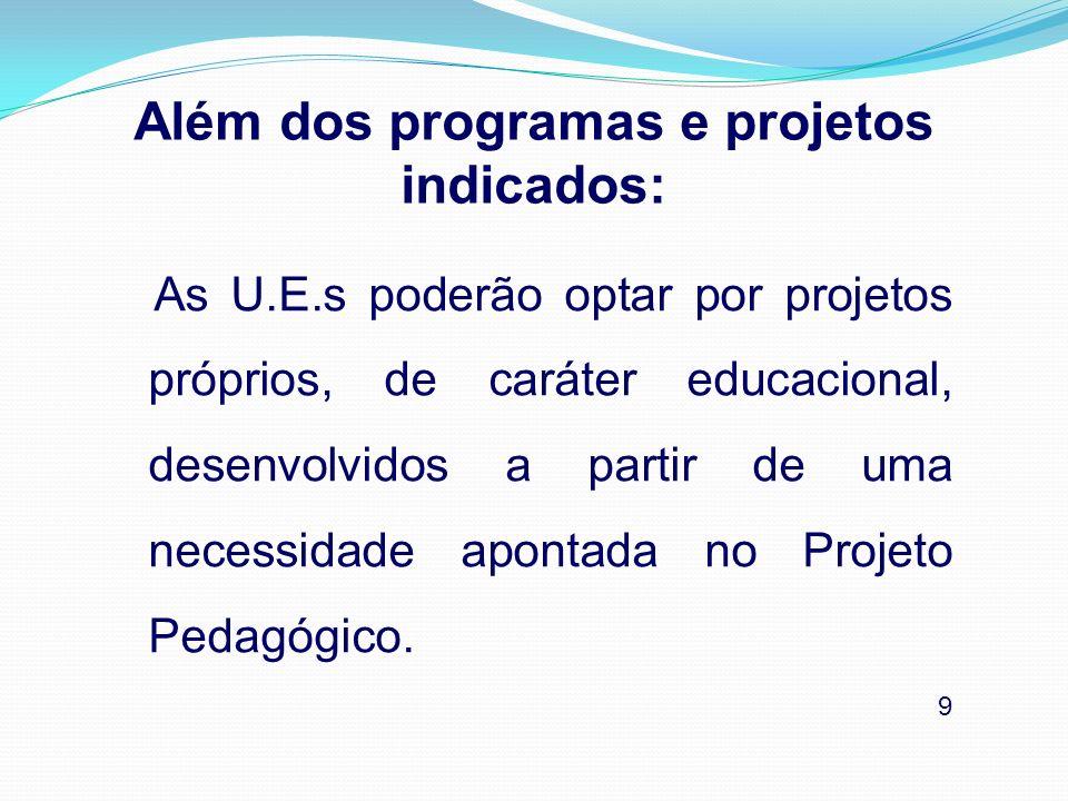O Programa destina-se prioritariamente aos alunos matriculados: no Ensino Fundamental na RME nos 4º aos 8º anos (EF de 8 anos) nos 5º aos 9º anos (EF de 9 anos) 10