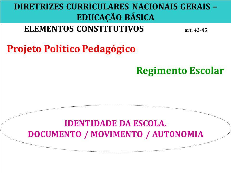 DIRETRIZES CURRICULARES NACIONAIS GERAIS – EDUCAÇÃO BÁSICA ELEMENTOS CONSTITUTIVOS art. 43-45 Projeto Político Pedagógico Regimento Escolar IDENTIDADE