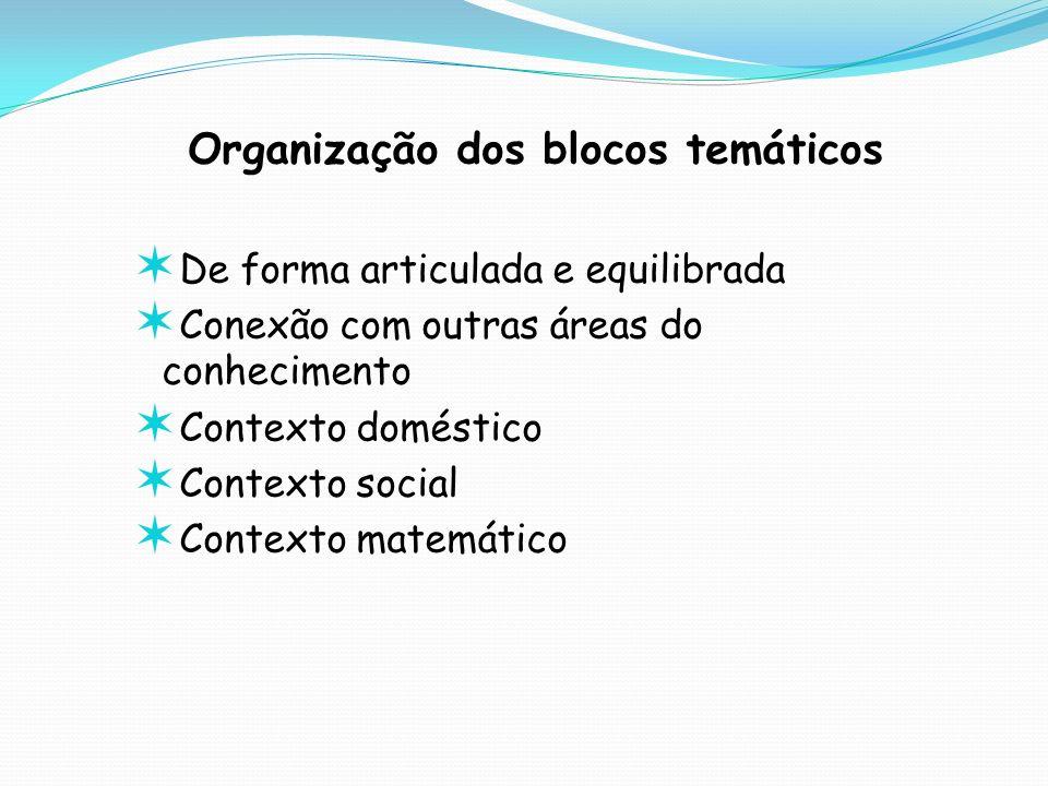 Organização dos blocos temáticos De forma articulada e equilibrada Conexão com outras áreas do conhecimento Contexto doméstico Contexto social Context