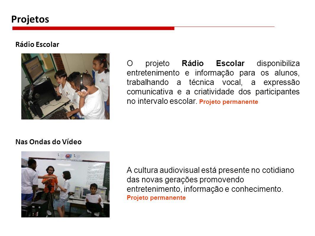 Projetos Rádio Escolar O projeto Rádio Escolar disponibiliza entretenimento e informação para os alunos, trabalhando a técnica vocal, a expressão comu