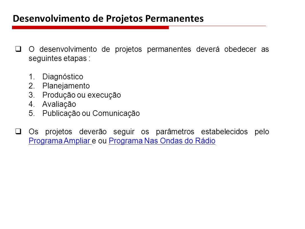 Desenvolvimento de Projetos Permanentes O desenvolvimento de projetos permanentes deverá obedecer as seguintes etapas : 1.Diagnóstico 2.Planejamento 3
