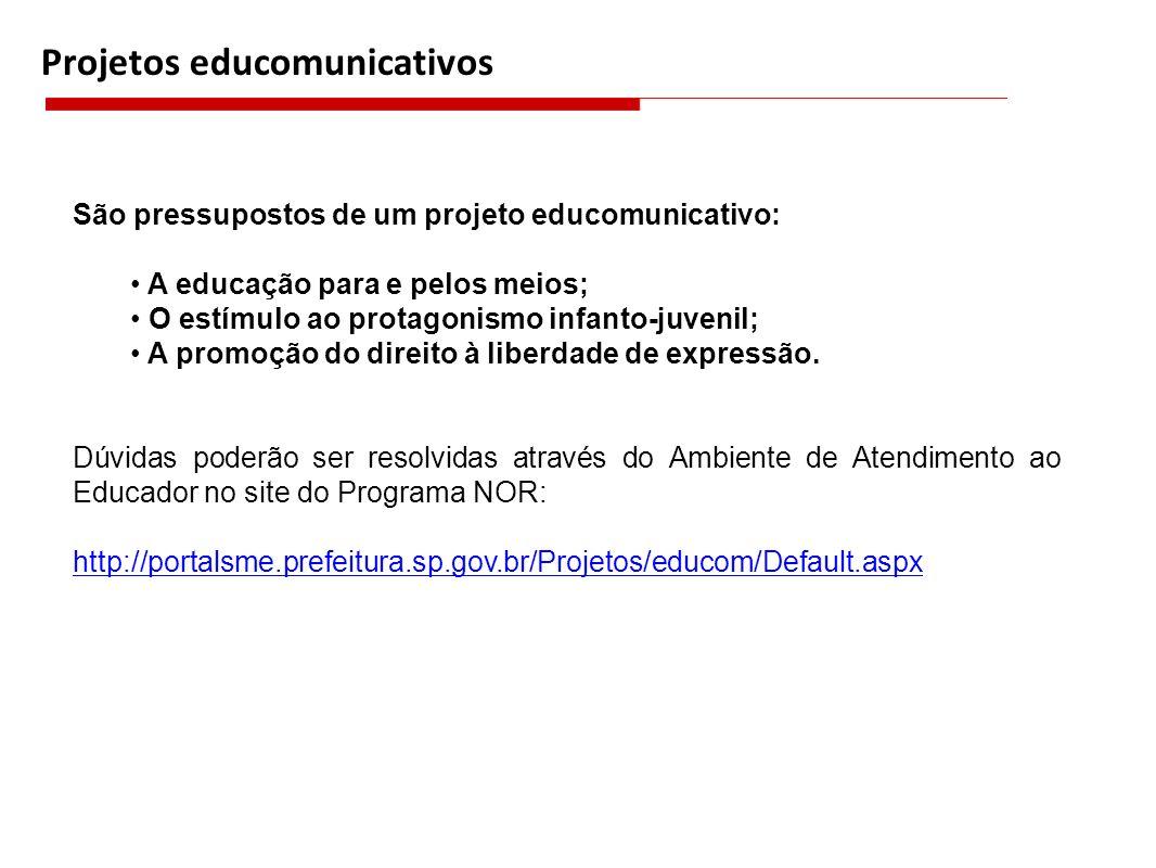 Projetos educomunicativos São pressupostos de um projeto educomunicativo: A educação para e pelos meios; O estímulo ao protagonismo infanto-juvenil; A
