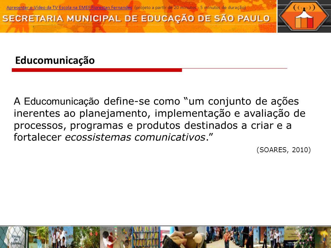 Educomunicação Apresentar o Vídeo da TV Escola na EMEF Florestan Fernandes (projeto a partir de 20 minutos - 5 minutos de duração)Apresentar o Vídeo d