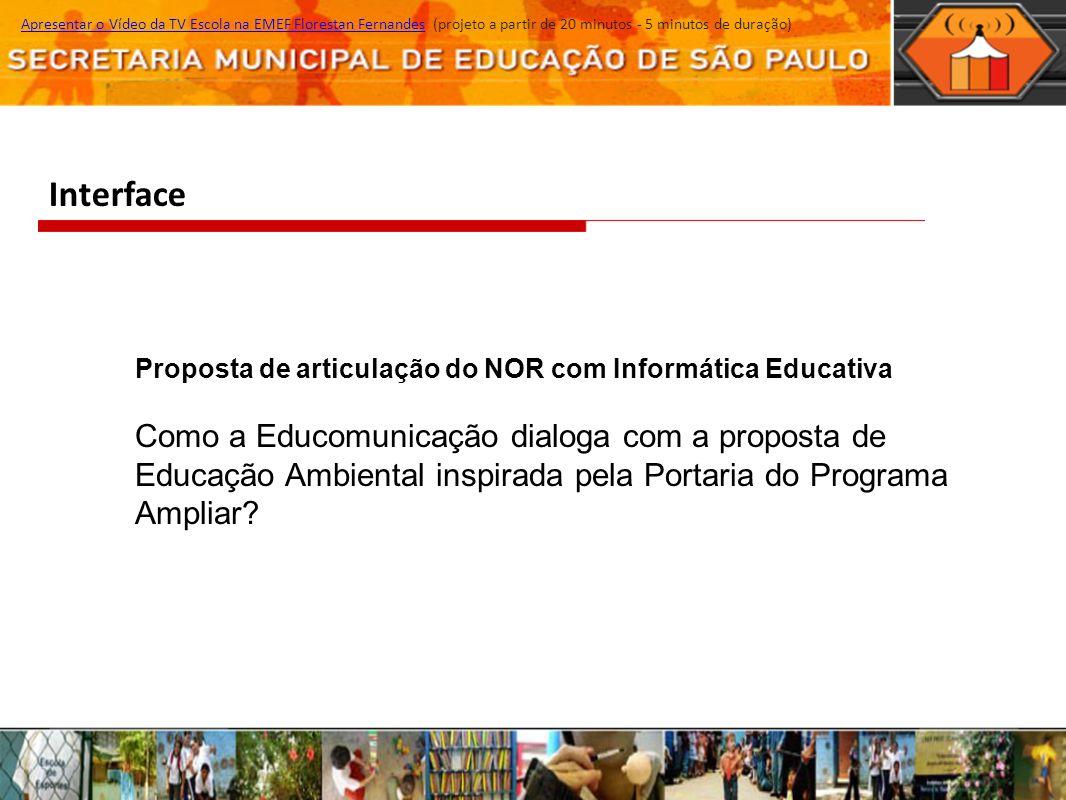 Interface Apresentar o Vídeo da TV Escola na EMEF Florestan Fernandes (projeto a partir de 20 minutos - 5 minutos de duração)Apresentar o Vídeo da TV