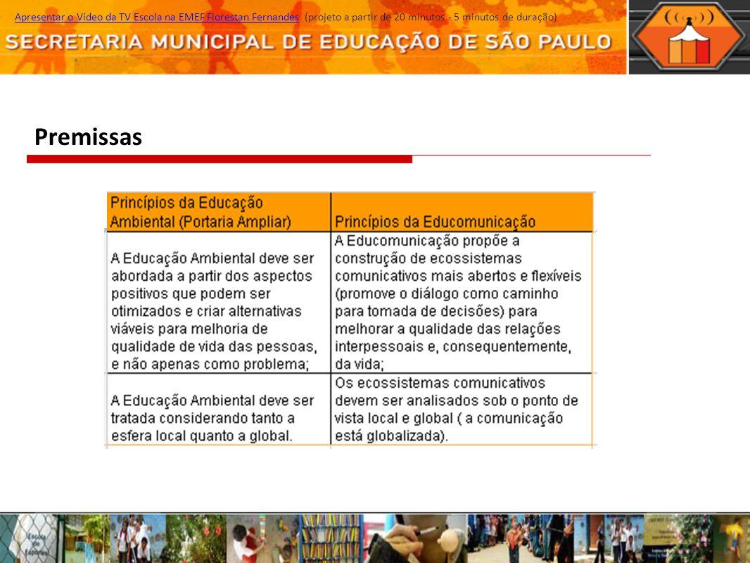 Premissas Apresentar o Vídeo da TV Escola na EMEF Florestan Fernandes (projeto a partir de 20 minutos - 5 minutos de duração)Apresentar o Vídeo da TV