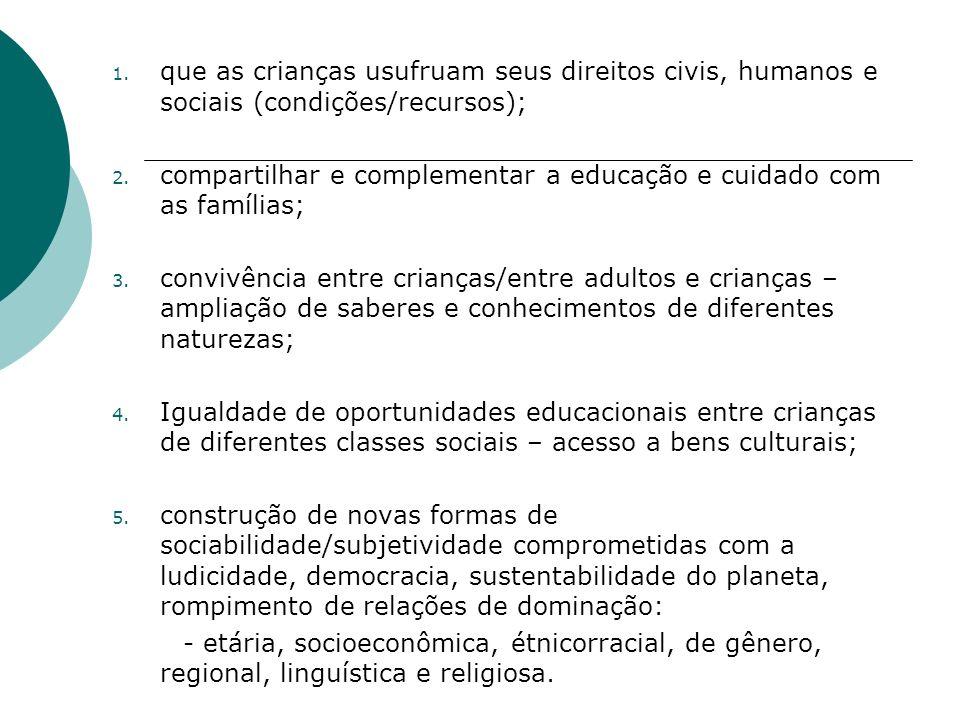 1.que as crianças usufruam seus direitos civis, humanos e sociais (condições/recursos); 2.
