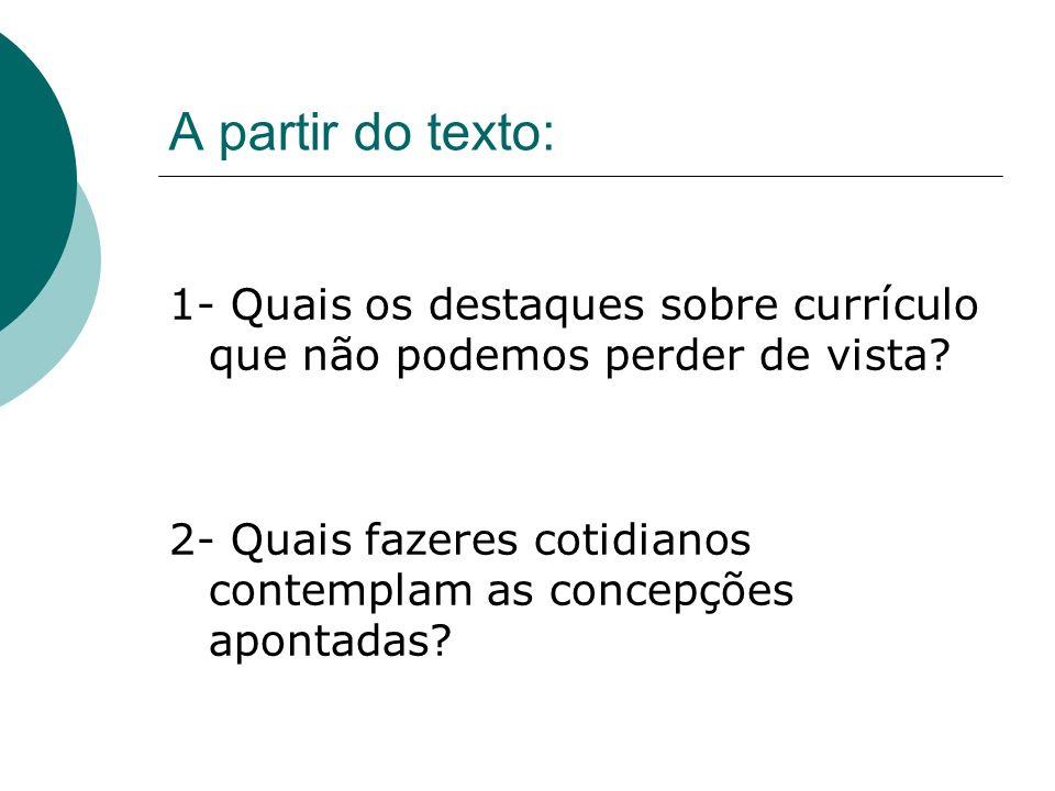A partir do texto: 1- Quais os destaques sobre currículo que não podemos perder de vista.