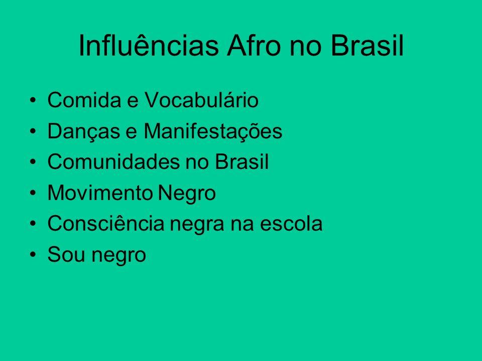Influências Afro no Brasil Comida e Vocabulário Danças e Manifestações Comunidades no Brasil Movimento Negro Consciência negra na escola Sou negro