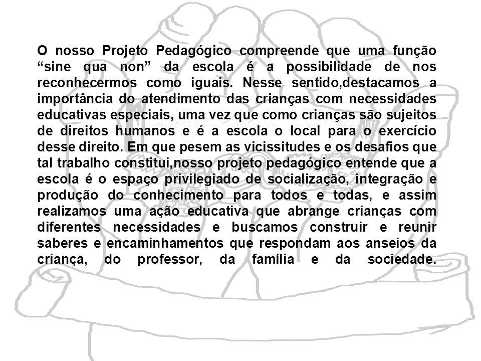 O nosso Projeto Pedagógico compreende que uma função sine qua non da escola é a possibilidade de nos reconhecermos como iguais. Nesse sentido,destacam