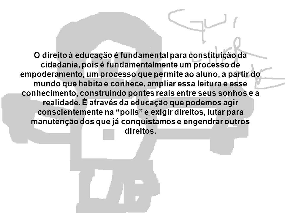 O direito à educação é fundamental para constituição da cidadania, pois é fundamentalmente um processo de empoderamento, um processo que permite ao al