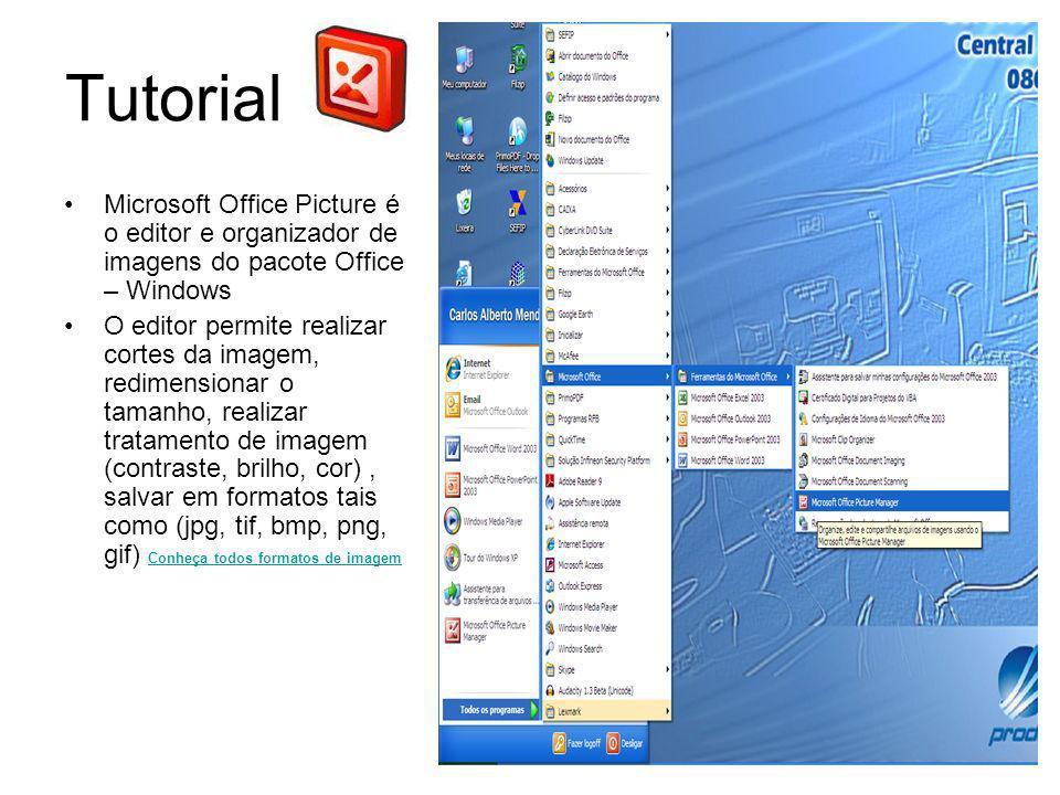 Tutorial Edição/Salvar 1.Para realizar cortes imagens, clique na foto com lado esquerdo do mouse, selecione, opção abrir com, e escolha o programa Microsoft Office Picture; 2.No campo superior clique em edição de imagem; 3.No canto esquerdo você poderá cortar a imagem clicando em Corte.