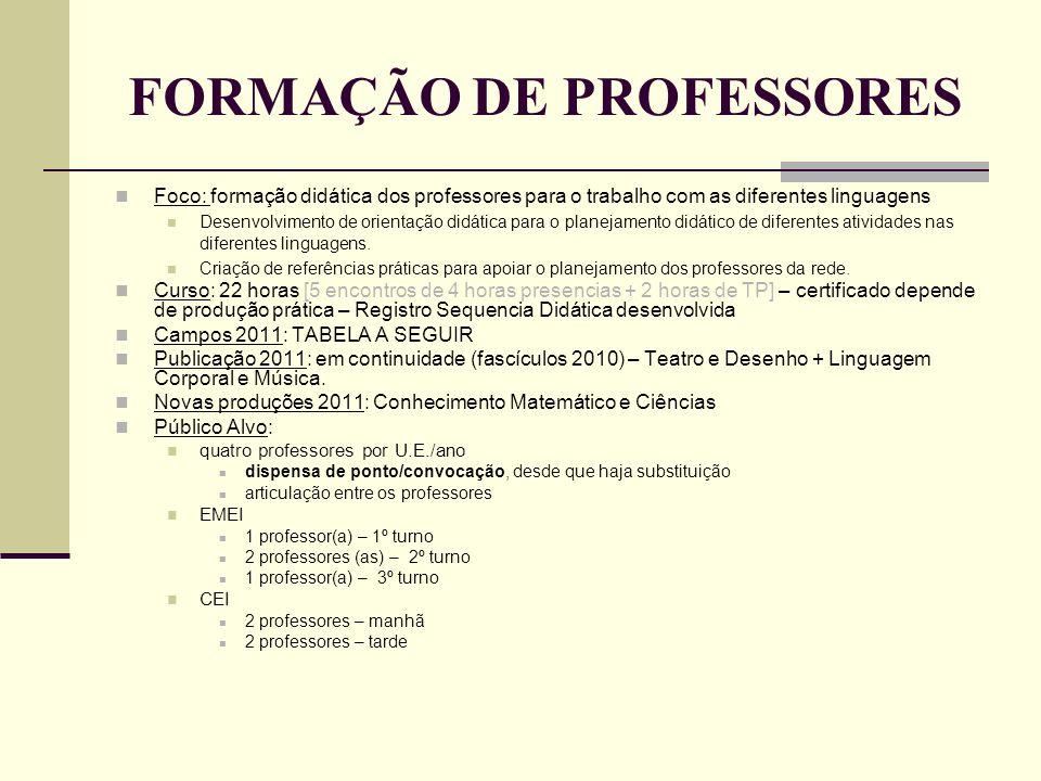 FORMAÇÃO DE PROFESSORES Foco: formação didática dos professores para o trabalho com as diferentes linguagens Desenvolvimento de orientação didática pa