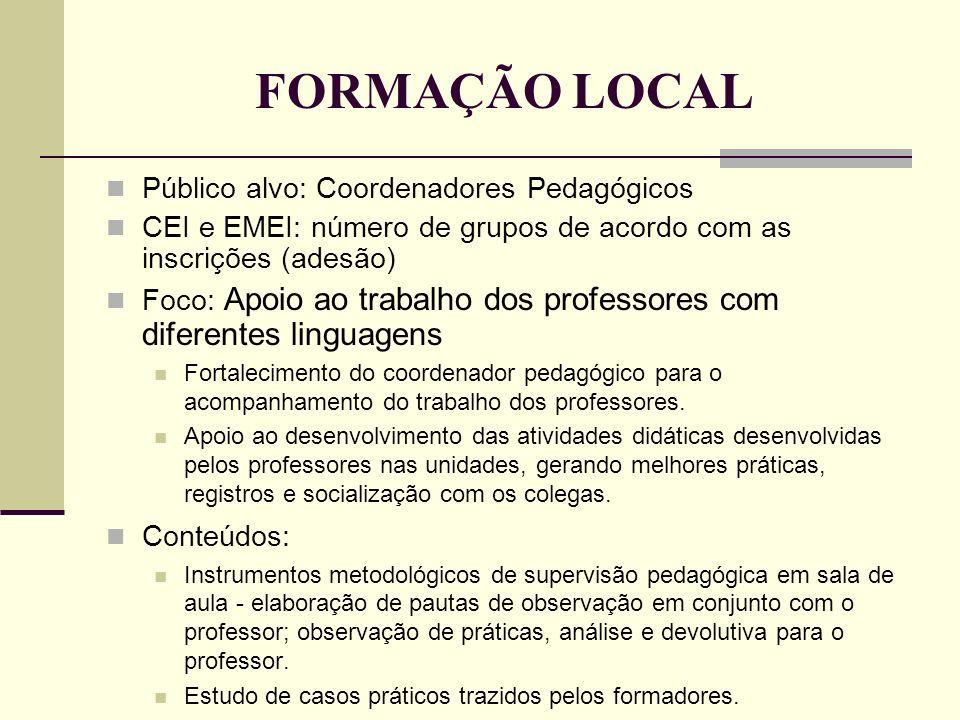 FORMAÇÃO LOCAL Público alvo: Coordenadores Pedagógicos CEI e EMEI: número de grupos de acordo com as inscrições (adesão) Foco: Apoio ao trabalho dos p