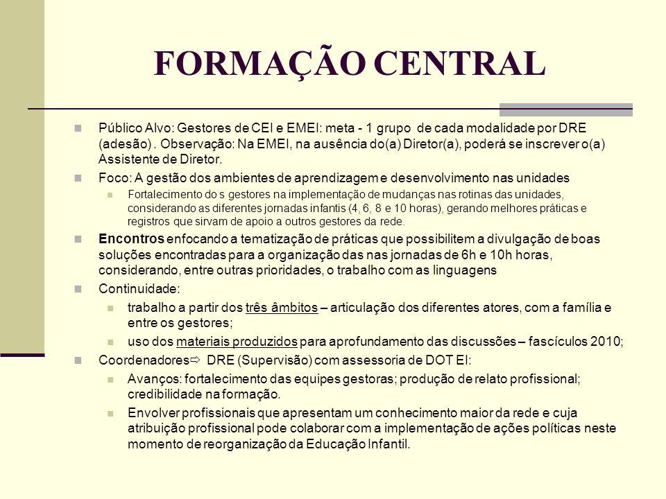 FORMAÇÃO CENTRAL Público Alvo: Gestores de CEI e EMEI: meta - 1 grupo de cada modalidade por DRE (adesão). Observação: Na EMEI, na ausência do(a) Dire