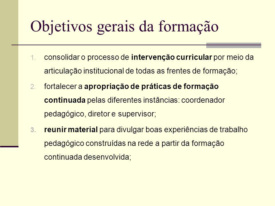 Objetivos gerais da formação 1. consolidar o processo de intervenção curricular por meio da articulação institucional de todas as frentes de formação;