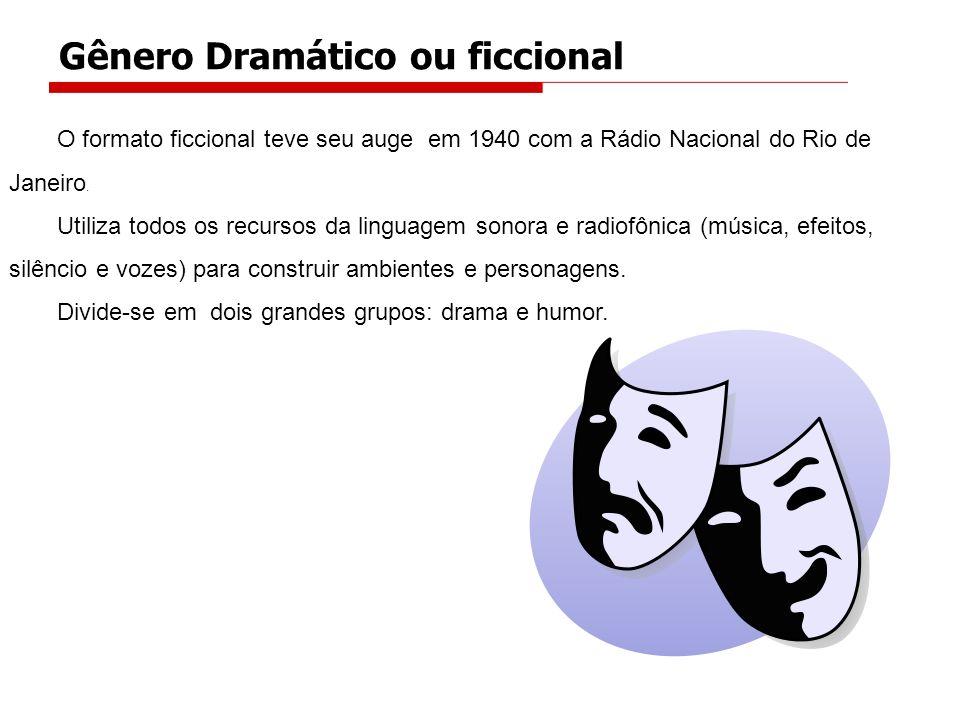 O formato ficcional teve seu auge em 1940 com a Rádio Nacional do Rio de Janeiro. Utiliza todos os recursos da linguagem sonora e radiofônica (música,