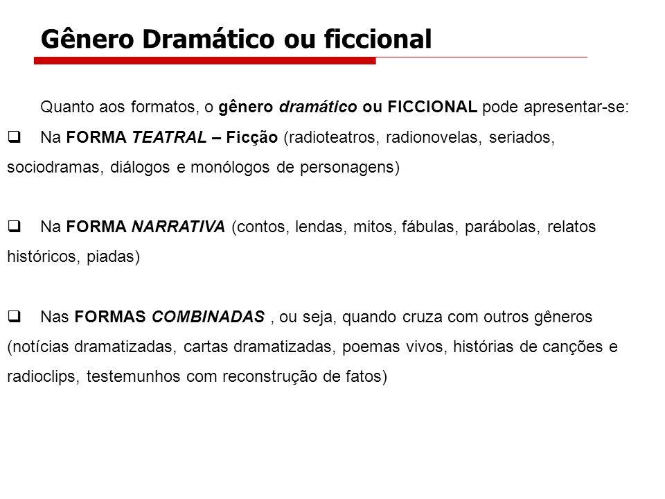 Quanto aos formatos, o gênero dramático ou FICCIONAL pode apresentar-se: Na FORMA TEATRAL – Ficção (radioteatros, radionovelas, seriados, sociodramas,