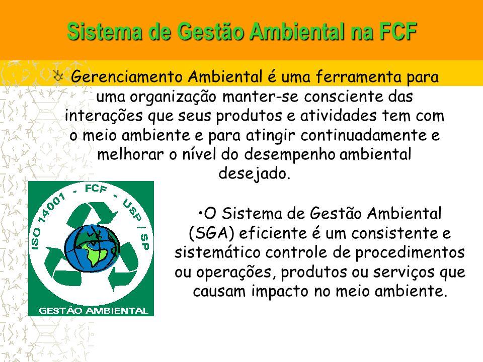 Sistema de Gestão Ambiental na FCF Gerenciamento Ambiental é uma ferramenta para uma organização manter-se consciente das interações que seus produtos