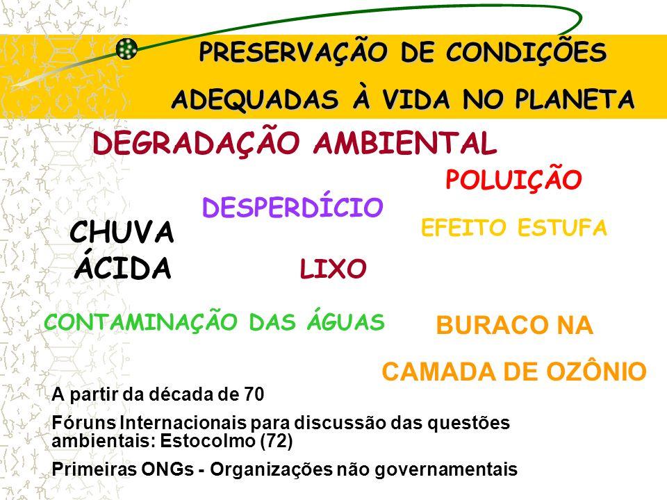 PRESERVAÇÃO DE CONDIÇÕES ADEQUADAS À VIDA NO PAÍS Após a Conferência de Estocolmo (1972): foram criados os principais órgãos de Meio Ambiente: Federal: SEMA - Secretaria de Meio Ambiente Estadual: CETESB (São Paulo) em 1986 foi publicada a Resolução 1 do CONAMA - Conselho Nacional do Meio Ambiente