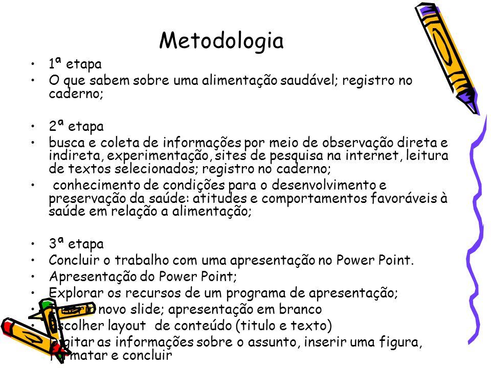 Metodologia 1ª etapa O que sabem sobre uma alimentação saudável; registro no caderno; 2ª etapa busca e coleta de informações por meio de observação di