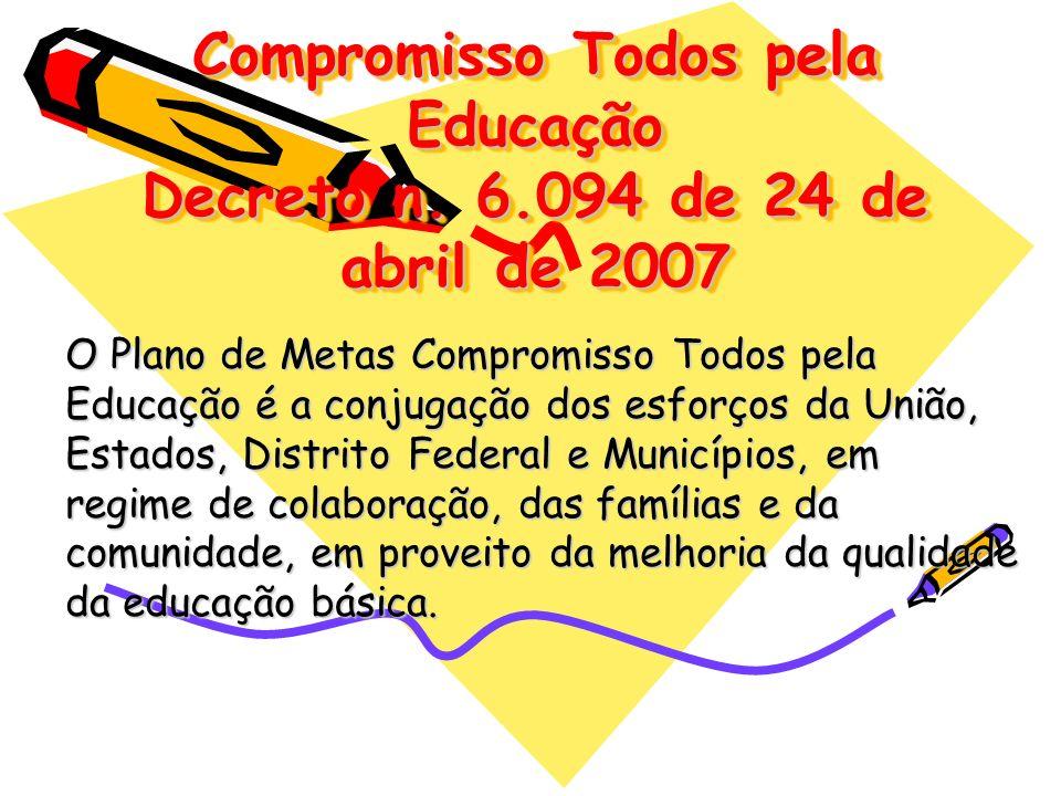 Compromisso Todos pela Educação Decreto n. 6.094 de 24 de abril de 2007 O Plano de Metas Compromisso Todos pela Educação é a conjugação dos esforços d