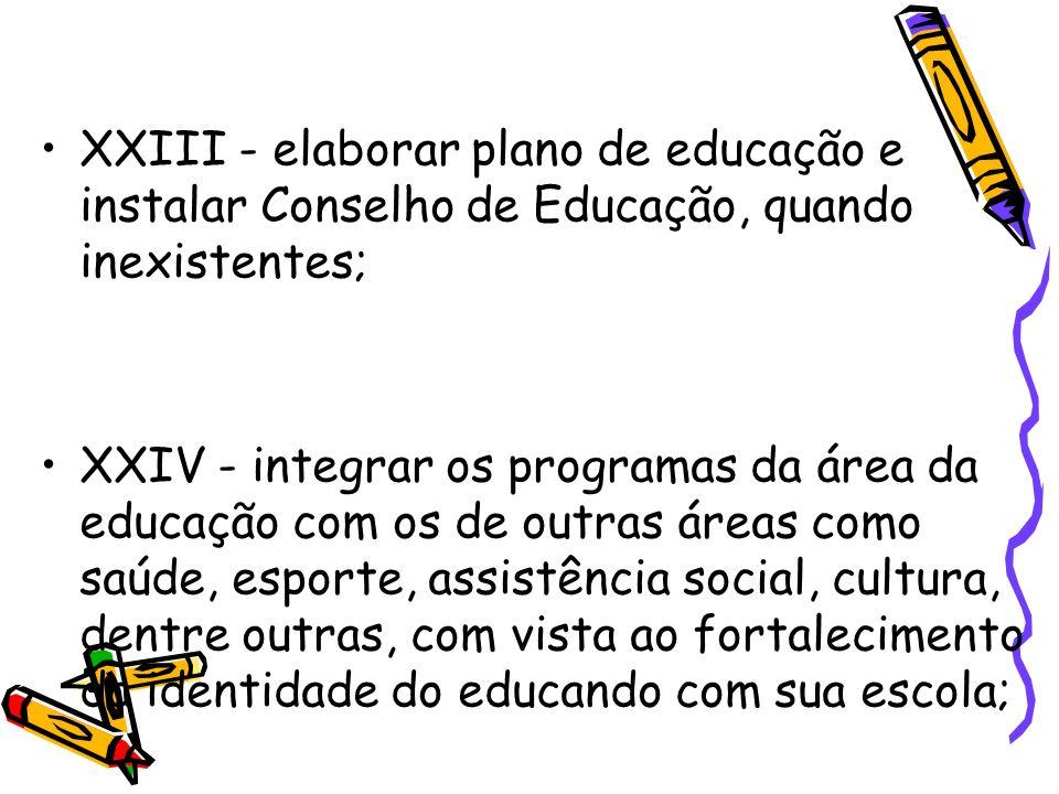 XXIII - elaborar plano de educação e instalar Conselho de Educação, quando inexistentes; XXIV - integrar os programas da área da educação com os de ou