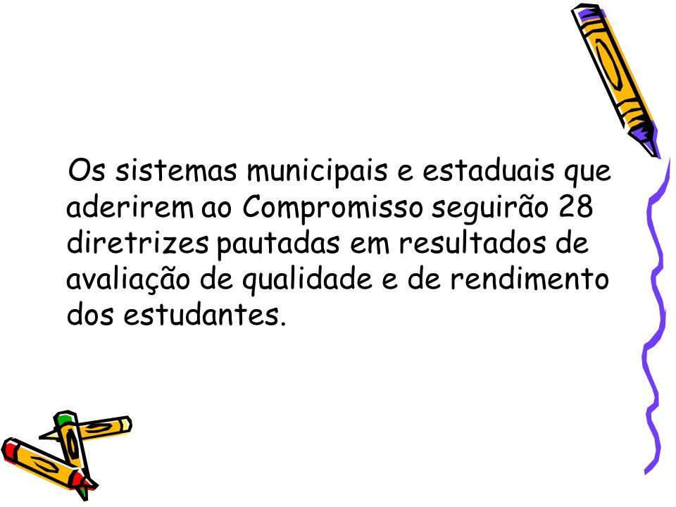 Os sistemas municipais e estaduais que aderirem ao Compromisso seguirão 28 diretrizes pautadas em resultados de avaliação de qualidade e de rendimento