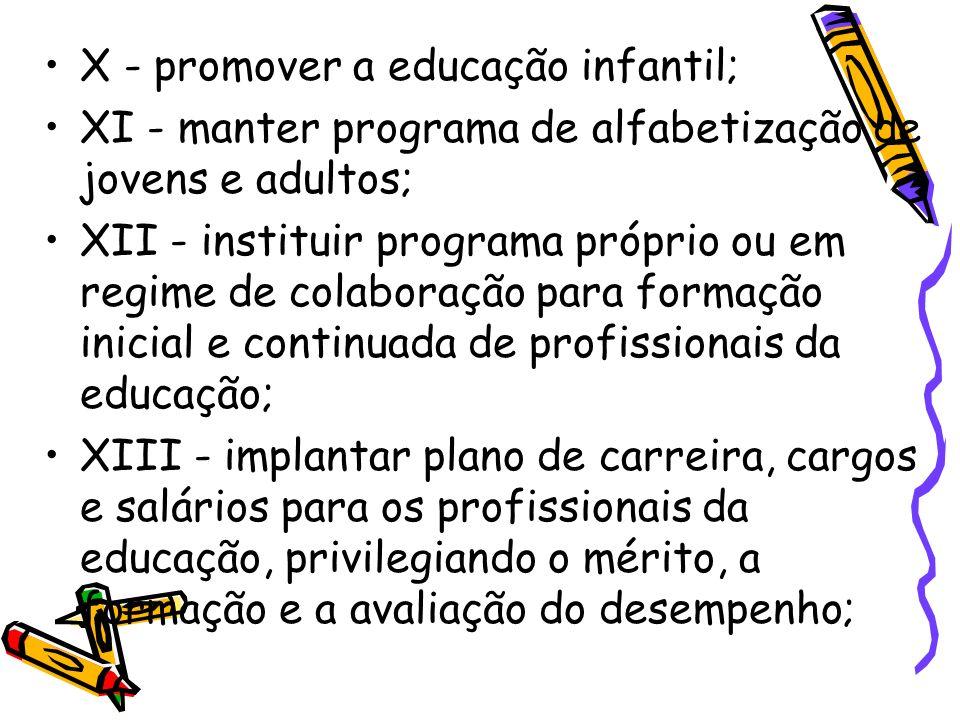 X - promover a educação infantil; XI - manter programa de alfabetização de jovens e adultos; XII - instituir programa próprio ou em regime de colabora