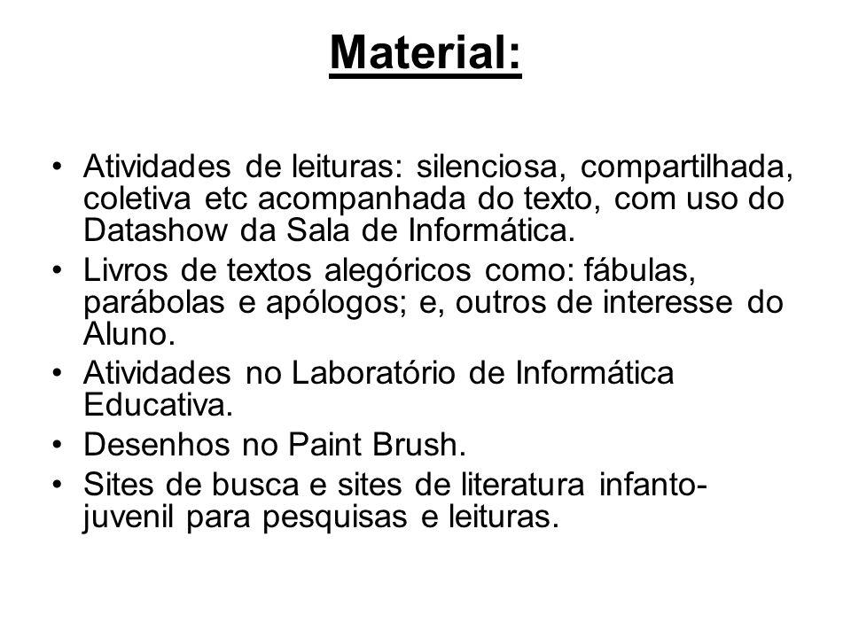 Material: Atividades de leituras: silenciosa, compartilhada, coletiva etc acompanhada do texto, com uso do Datashow da Sala de Informática. Livros de