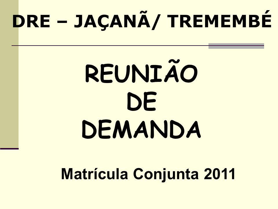 REUNIÃO DE DEMANDA DRE – JAÇANÃ/ TREMEMBÉ Matrícula Conjunta 2011