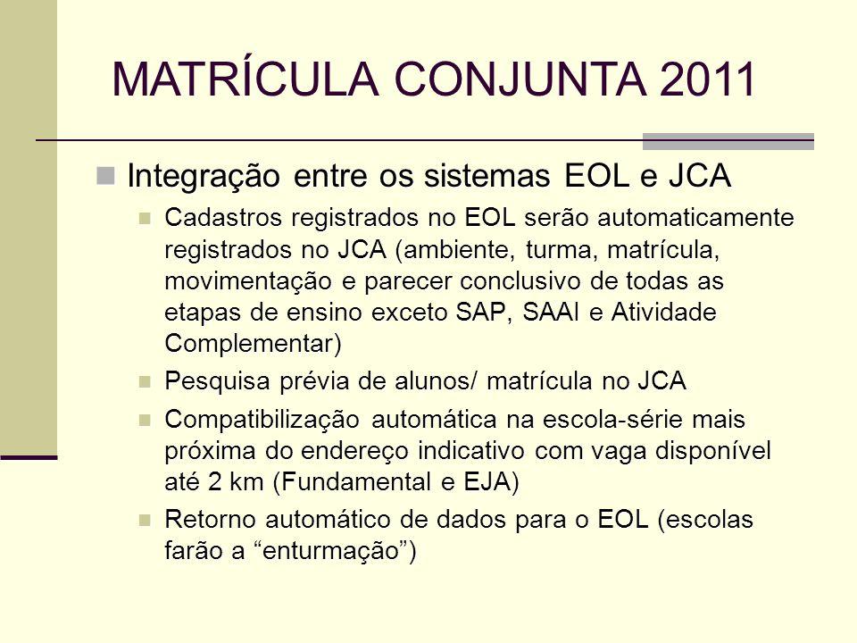 Integração entre os sistemas EOL e JCA Integração entre os sistemas EOL e JCA Cadastros registrados no EOL serão automaticamente registrados no JCA (a