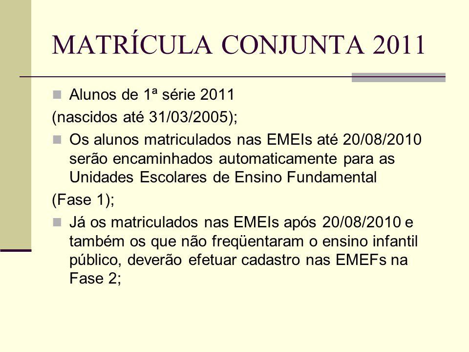 MATRÍCULA CONJUNTA 2011 Projeção de classes para 2011 das EMEFs / EMEFM Projeção de classes para 2011 das EMEFs / EMEFM A projeção de classes para 2011 das EMEF/ EMEFM será realizada exclusivamente no sistema EOL, com migração automática de dados para o sistema JCA (barramento) A projeção de classes para 2011 das EMEF/ EMEFM será realizada exclusivamente no sistema EOL, com migração automática de dados para o sistema JCA (barramento) Período – de 01/09/2010 a 15/09/2010 Período – de 01/09/2010 a 15/09/2010 Deverão ser obedecidos criteriosamente os limites de módulos de alunos por classe no cadastramento das turmas, conforme orientação das Diretorias Regionais.