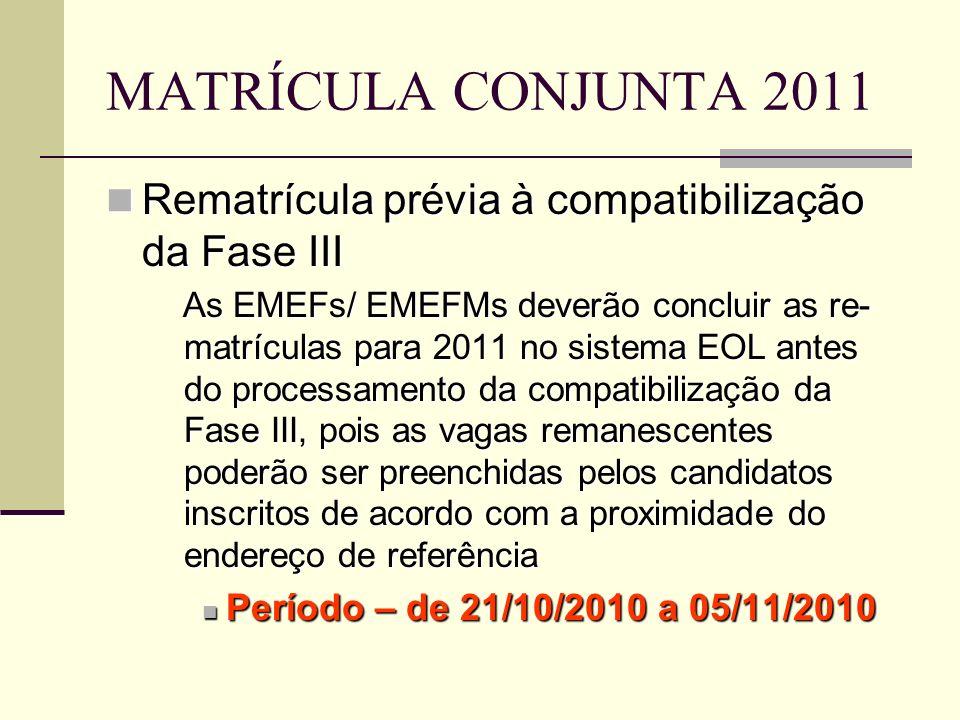 MATRÍCULA CONJUNTA 2011 Rematrícula prévia à compatibilização da Fase III Rematrícula prévia à compatibilização da Fase III As EMEFs/ EMEFMs deverão c