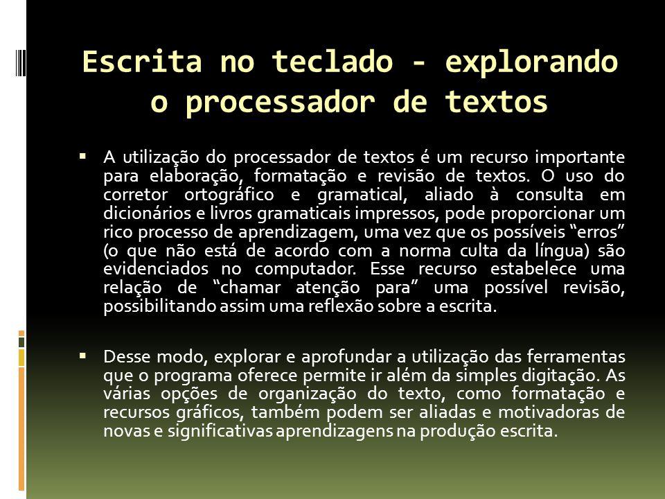 Escrita no teclado - explorando o processador de textos A utilização do processador de textos é um recurso importante para elaboração, formatação e revisão de textos.