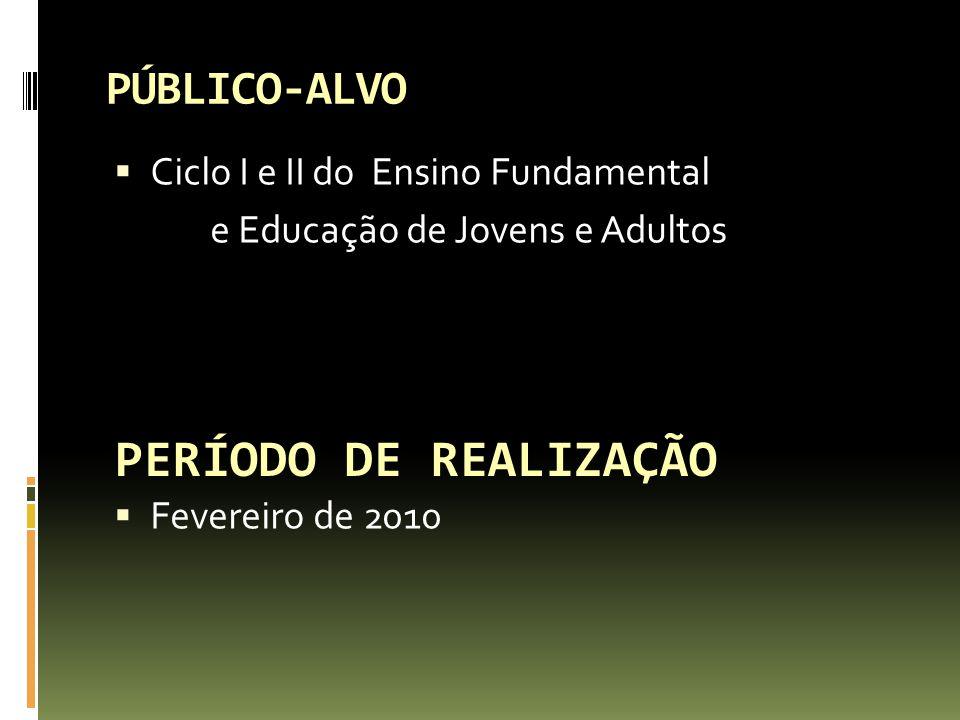 PÚBLICO-ALVO Ciclo I e II do Ensino Fundamental e Educação de Jovens e Adultos Fevereiro de 2010 PERÍODO DE REALIZAÇÃO