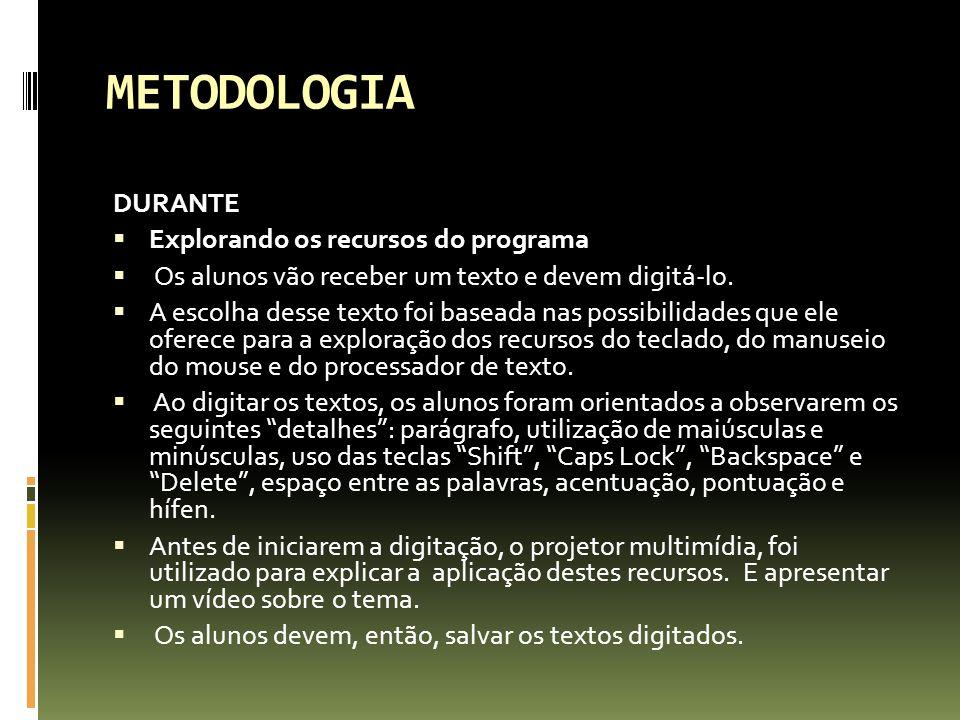 METODOLOGIA DURANTE Explorando os recursos do programa Os alunos vão receber um texto e devem digitá-lo.