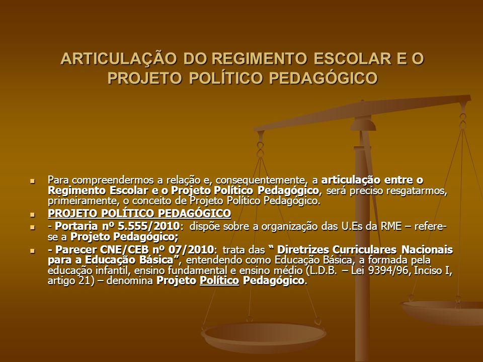 ARTICULAÇÃO DO REGIMENTO ESCOLAR E O PROJETO POLÍTICO PEDAGÓGICO Por que Político.