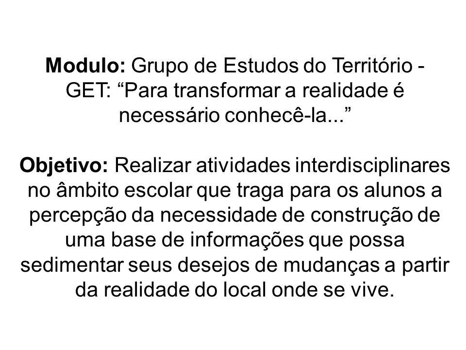 Modulo: Grupo de Estudos do Território - GET: Para transformar a realidade é necessário conhecê-la...
