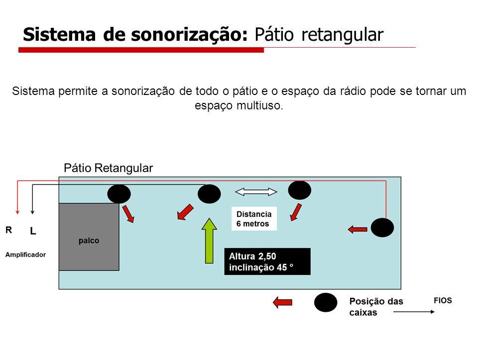 Sistema de sonorização: Pátio retangular Sistema permite a sonorização de todo o pátio e o espaço da rádio pode se tornar um espaço multiuso.