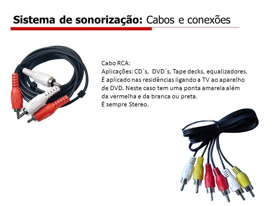 Sistema de sonorização: Cabos e conexões Cabo RCA: Aplicações: CD´s, DVD´s, Tape decks, equalizadores. É aplicado nas residências ligando a TV ao apar