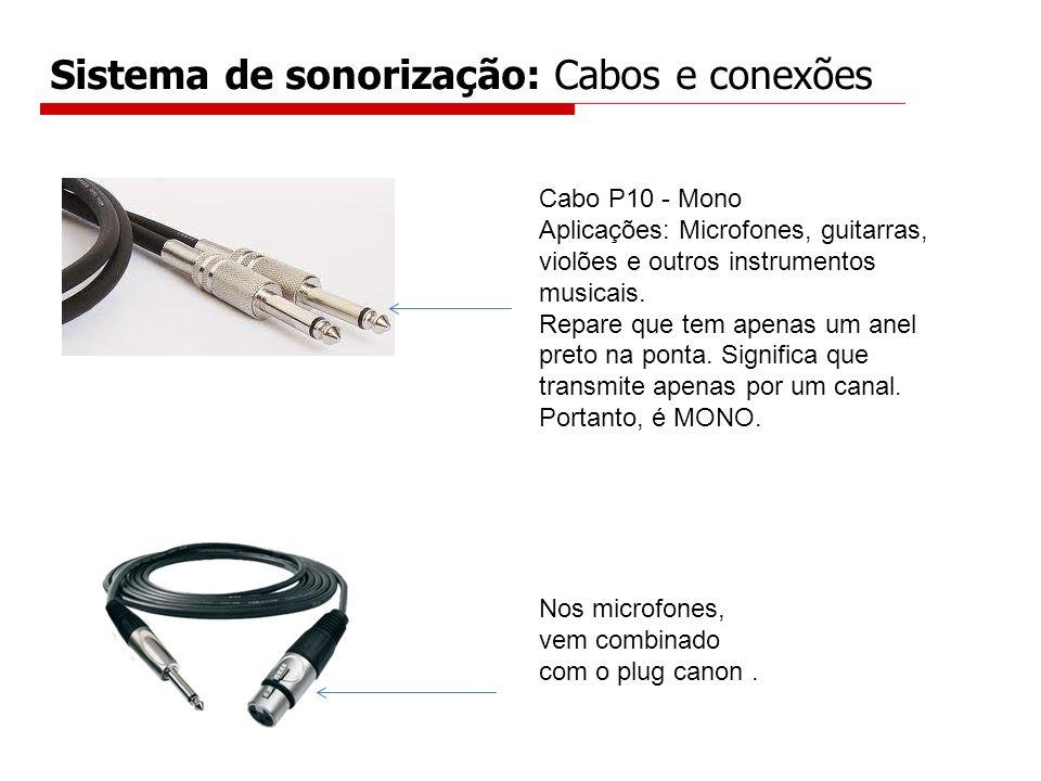 Sistema de sonorização: Cabos e conexões Cabo P10 - Mono Aplicações: Microfones, guitarras, violões e outros instrumentos musicais. Repare que tem ape