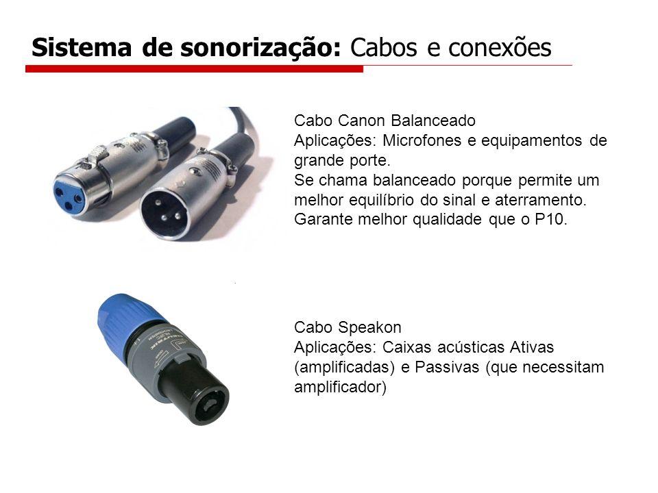 Sistema de sonorização: Cabos e conexões Cabo Canon Balanceado Aplicações: Microfones e equipamentos de grande porte. Se chama balanceado porque permi