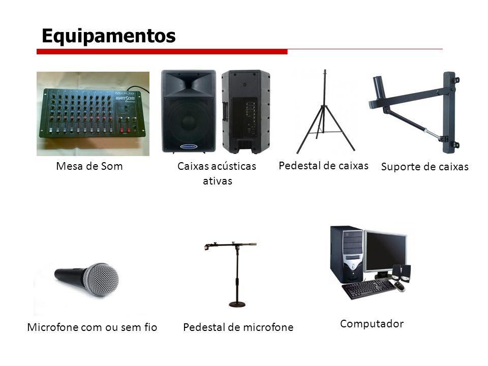 Equipamentos Mesa de Som Par de caixas acústicas Ativas e Passivas ou amplificador e caixas acústicas; Suporte de parede ou pedestal de caixas ; Micro